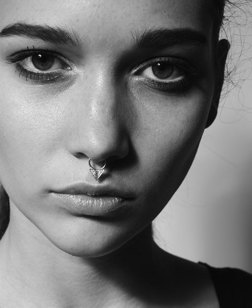 Diamond Point Septum Ring Pierced