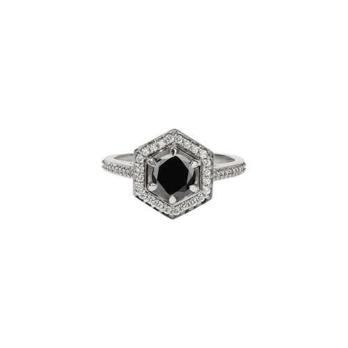 Hex Ring Black + White Diamond