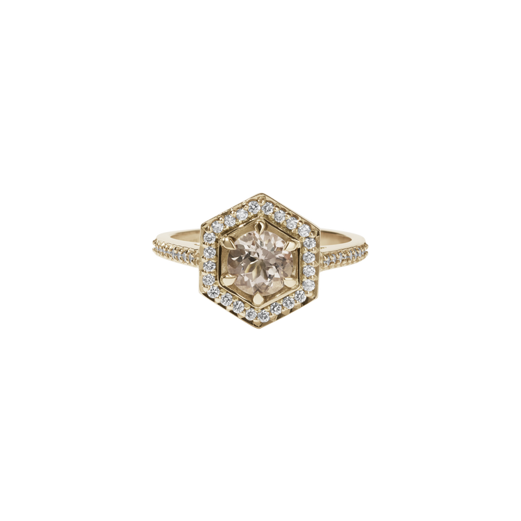 Hex Ring Morganite + Diamond