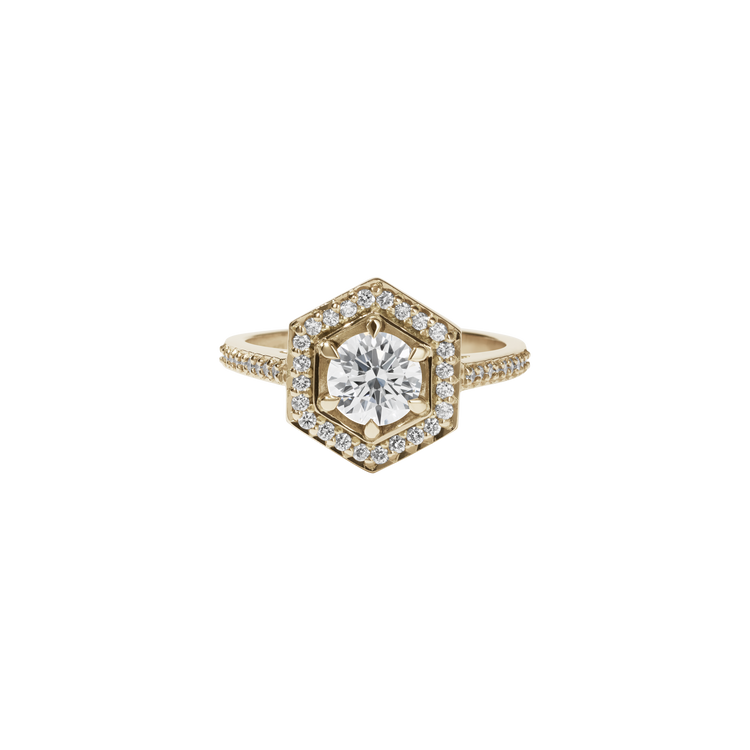 Hex Ring White Diamond