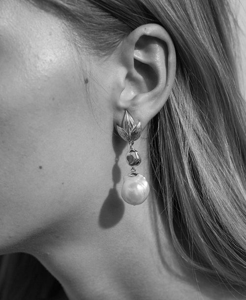 Etched Leaf Baroque Earrings