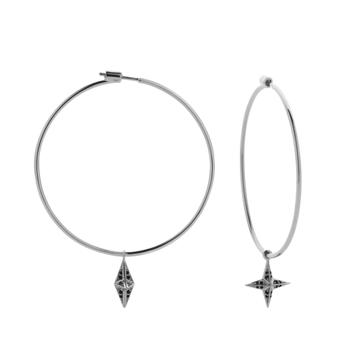 Pave Star Hoop Earrings