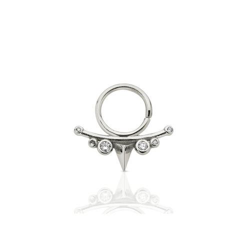 Small Thorn Septum Ring Stone Set Pierced