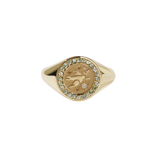 Amulet Peace Signet Ring Pave