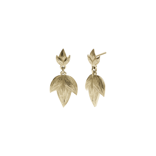 Etched 3 Leaves Drop Earrings Large