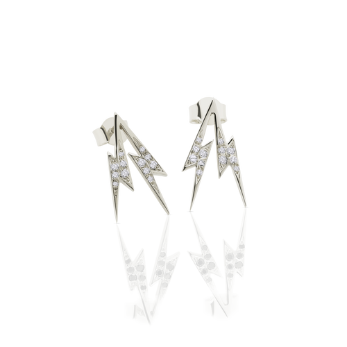 Thunder Bolt Stud Earrings Pave