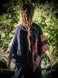 Mens Black Poncho Yak Wool Handmade with Large Hood and pockets, Earthy Tribal Pattern