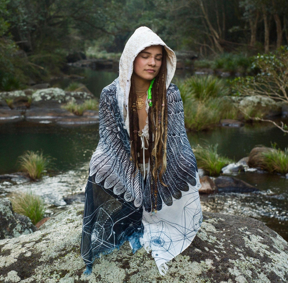 Black and White Feather Bird Wings Pashmina Sarong Scarf, Totem Festival Shawl Gypsy Bohemian Clothing Nature Ajjaya Rave Art