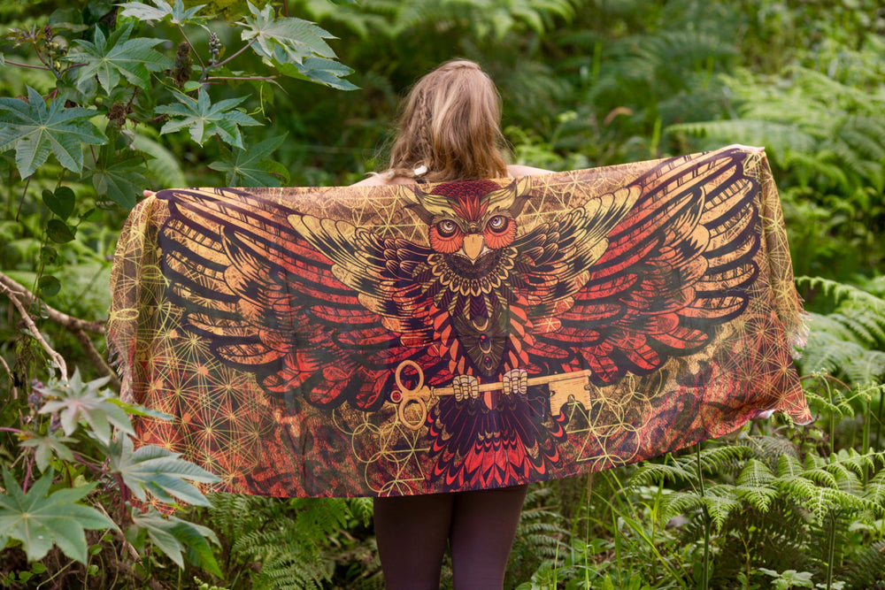Sarong Scarf Owl Wings Lava Sacred Geometry, Totem Feather Pashmina Festival Shawl beach Gypsy Bohemian Tribal Clothing Nature Ajjaya Rave