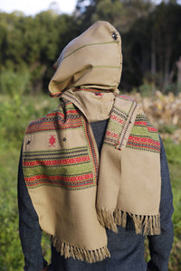 Handmade Hooded Scarf with Hood Light Wool Grey Brown, Earthy Tribal Pattern Festival Gypsy AJJAYA Mens Wear Nomadic Primitive Natural