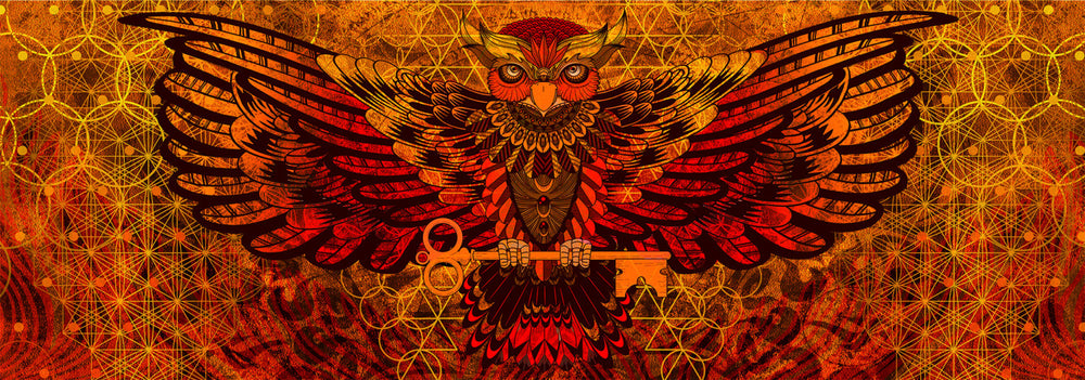 Owl Holding Key Tapestry Wall Hanging Visionary Art, 2 meters across Psychedelic, Totem, Alchemy, Sacred Geometry, Wearable Art AJJAYA