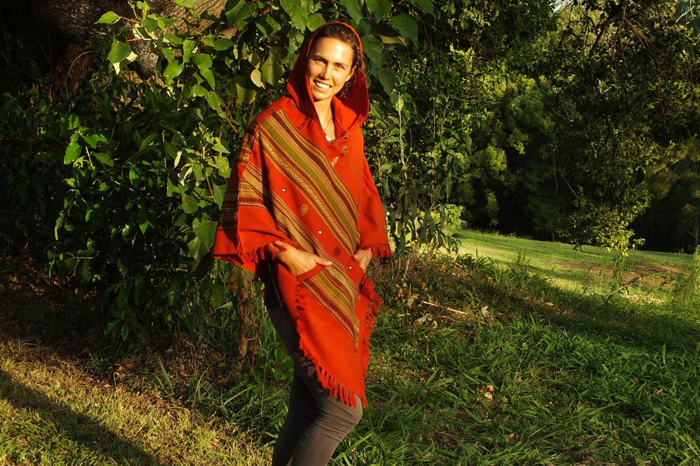 Handmade Poncho with Hoodie Orange Light Wool Earthy Tribal Pattern Festival Gypsy AJJAYA Mens Wear Winter Warm Primitive Natural