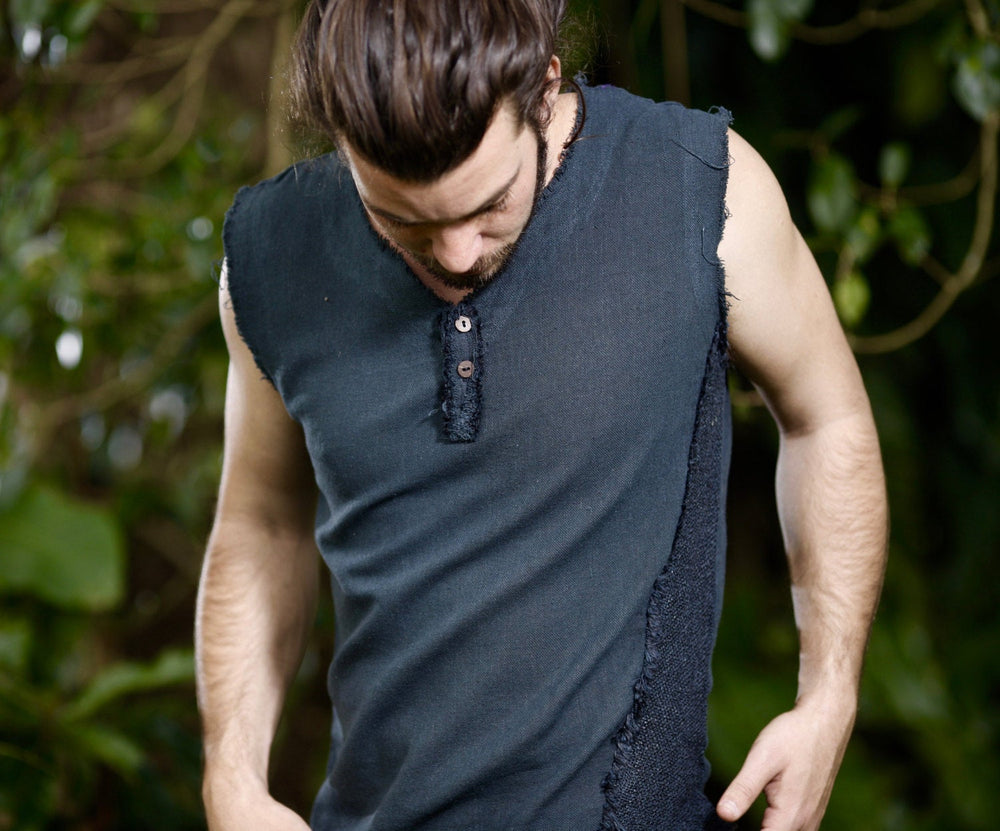 Handmade Black Mens Neo Gypsy Sleeveless Earthy Top Shirt, Tank Tribal Jungle Cotton Open V Neck Festival Rave AJJAYA Nomadic Primitive
