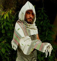 White Hooded Scarf with hood Embroidery Tribal Pattern Gypsy Jungle Nomadic Kashmiri Festival Nomadic Primitive Earthy Rave AJJAYA Ethnic