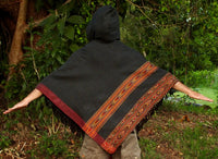 Handmade Grey Poncho with Hoodie YAK Wool, Earthy Tribal Pattern Festival Gypsy AJJAYA Mens Wear Winter Warm Primitive Natural Alternative