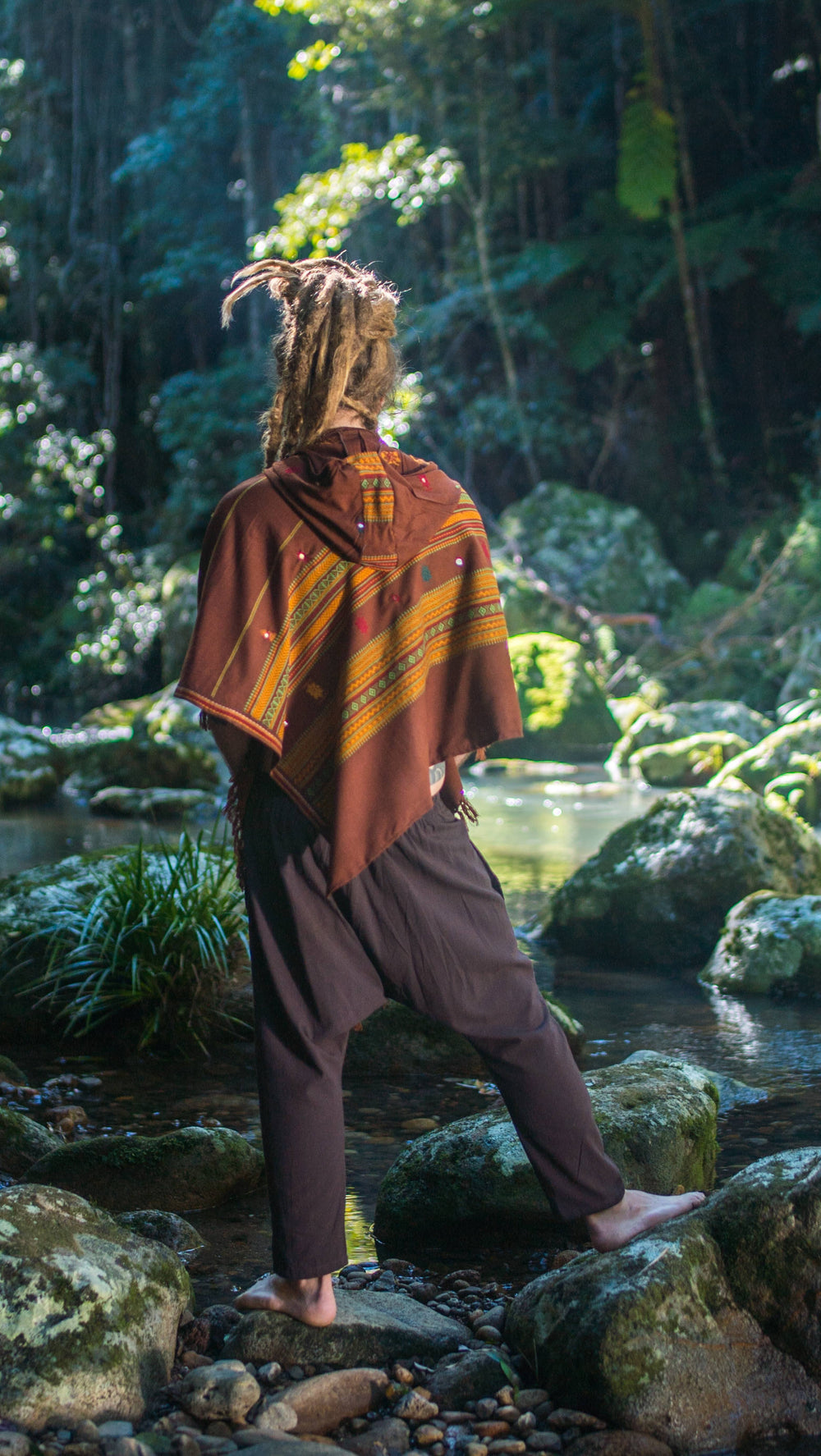 Handmade Brown Cashmiri Poncho with Hood, Earthy Tribal Pattern Festival Gypsy AJJAYA Mens Wear Winter Warm Primitive Nomadic Mexican