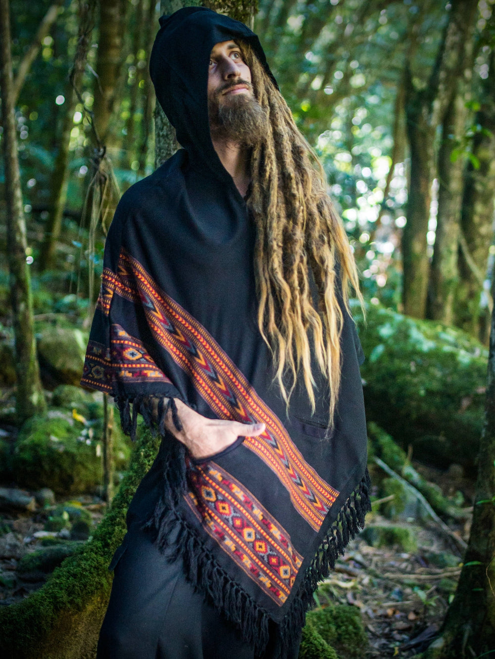Black Poncho Yak Wool Handmade with Large Hood and pockets, Earthy Tribal Pattern Festival Gypsy AJJAYA Mens Mexican Primitive Alternative