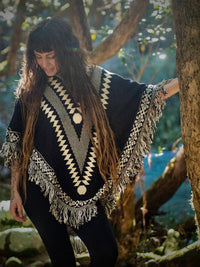 Black and White Vegan Cotton Poncho Women Bohemian Pattern Reversible Double Sided Gypsy Tribal Boho Warm Soft  Festival Doof One Size