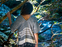 Handmade Hand Woven Grey Khadi Tank T Shirt Tunic Top Natural Dyed Cotton From Leaf and Bark Gypsy Desert Primitive Festival Bohemian AJJAYA
