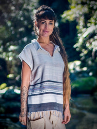 Handmade Hand Woven CreambT Shirt Collar Top Natural Dyed Cotton From Leaf and Bark Gypsy Desert Primitive Festival Bohemian AJJAYA
