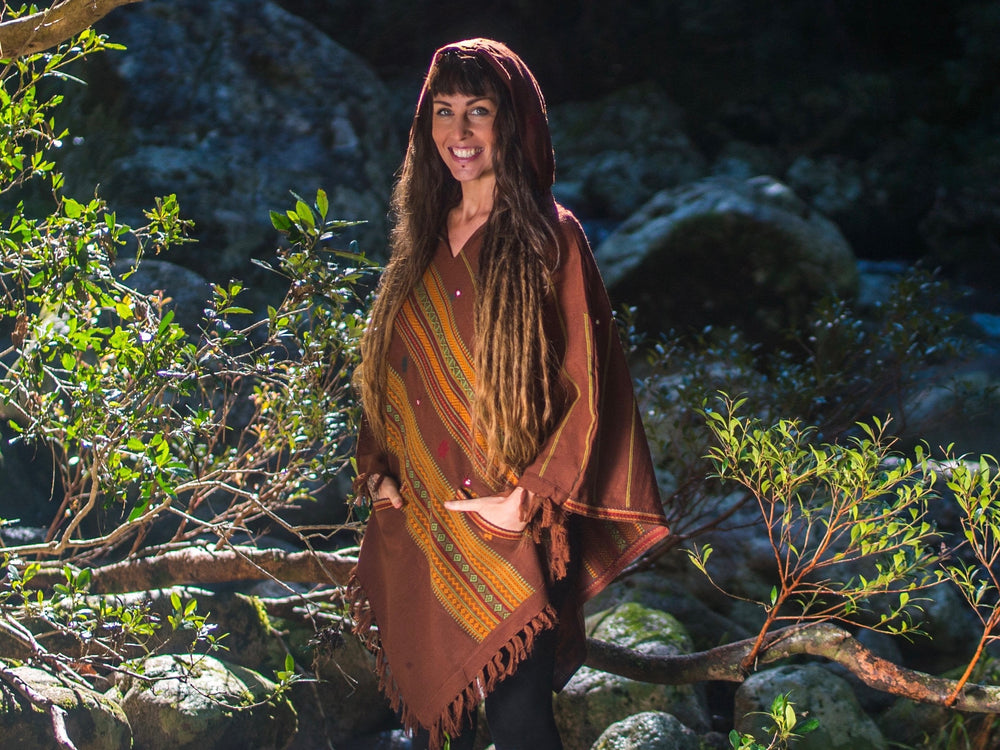 Brown Handmade Cashmere Poncho with Hood, Earthy Tribal Pattern Festival Gypsy AJJAYA Doof Rave Warm Primitive Nomadic Mexican with pockets