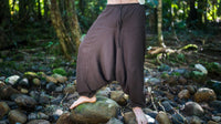 Handmade Brown Aladdin Mens Ashtanga Harem Alibaba Yoga Afghani Pants with pocket trousers comfortable pilates tai chi kong fu Festival Rave