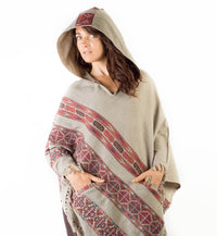 Womens Poncho Large Hood Yak Wool Light Grey Tribal Embroidery Celtic Patterns Gypsy Alternative Wild Festival Rave Mexican Primitive AJJAYA