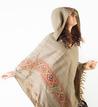 Womens Poncho Large Hood Yak Wool Light Brown Tribal Embroidery Celtic Patterns Gypsy Alternative Festival Rave Mexican Primitive AJJAYA