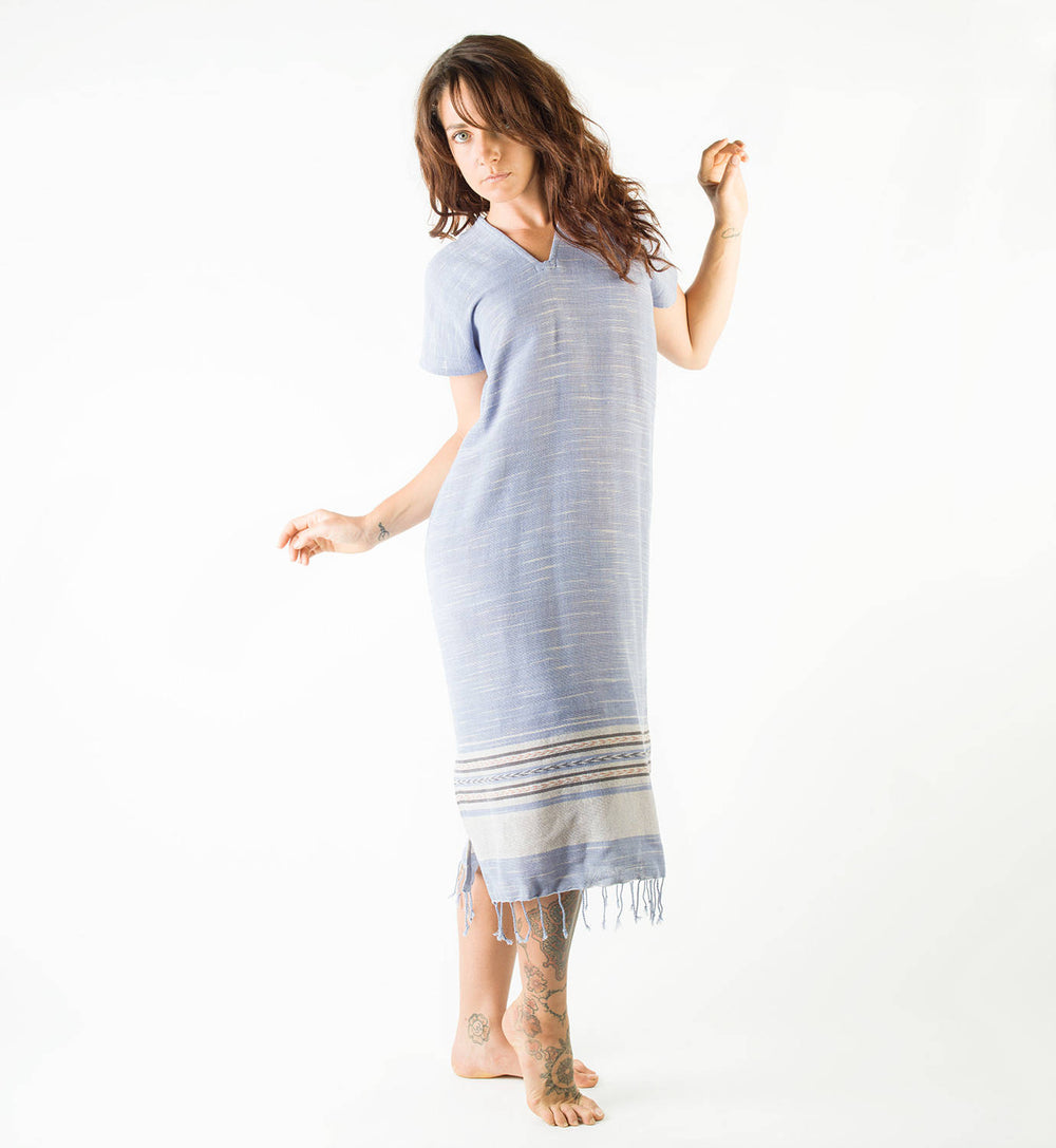 Handmade Hand Woven Blue Dress Night Gawn Pyjama Natural Dyed Cotton From Leaf and Bark Gypsy Desert Primitive Festival Bohemian AJJAYA