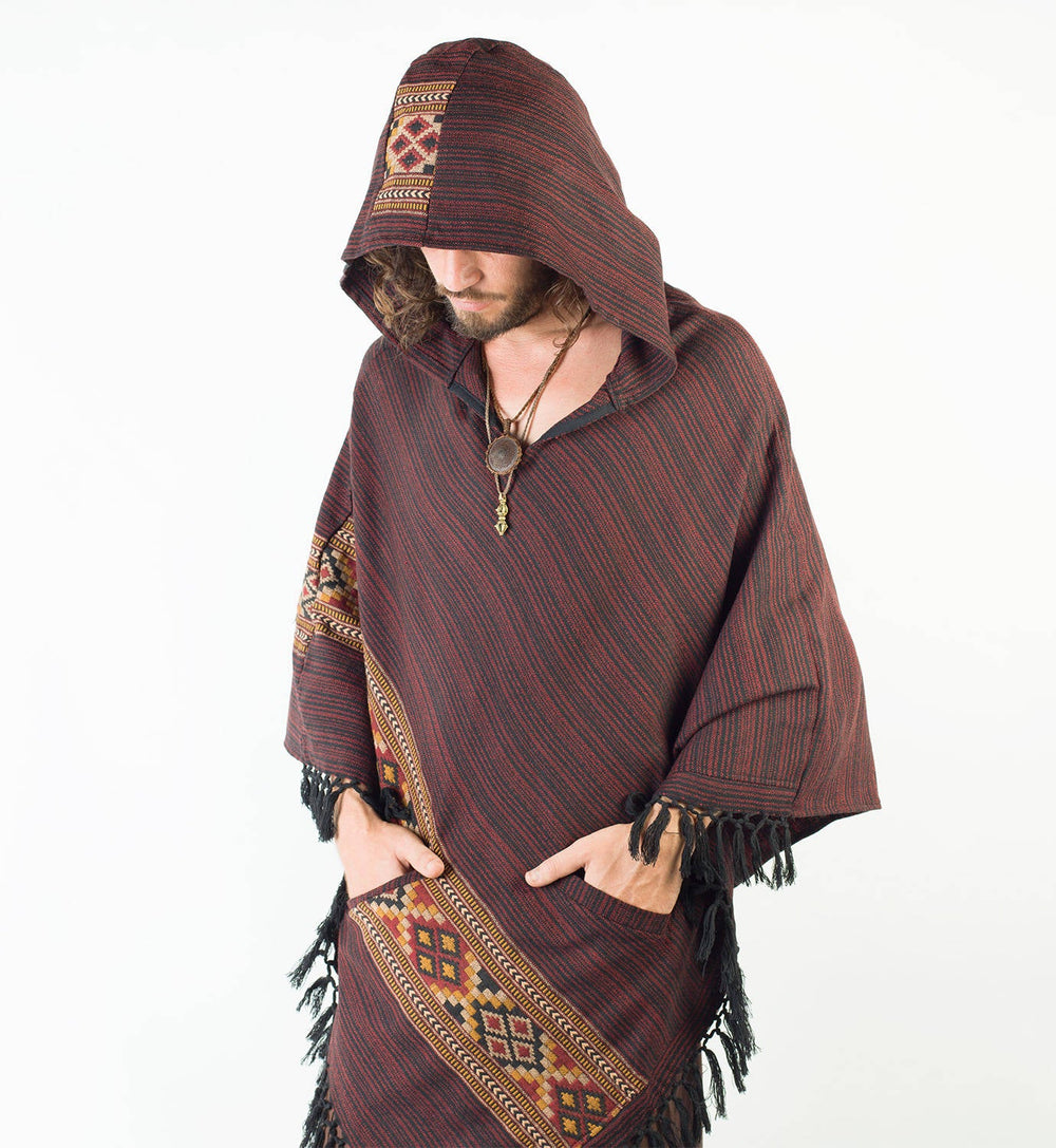 Mens Poncho Red Crimson Large Hood Yak Wool Tribal Embroidery Celtic Patterns Gypsy Alternative Wild Festival Rave Mexican Primitive AJJAYA