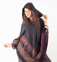 Womens Poncho Black Large Hood Yak Wool Pockets Tribal Embroidery Boho Pattern Gypsy Alternative Wild Festival Rave Mexican Primitive AJJAYA