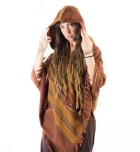 Womens Brown Handmade Cashmere Poncho with Hood, Earthy Tribal Pattern Festival Gypsy AJJAYA Rave Warm Primitive Nomadic Mexican pockets
