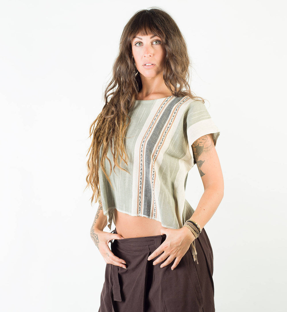 Handmade Hand Woven Light Green Tank T Shirt Tunic Top Natural Dyed Cotton From Leaf and Bark Gypsy Desert Primitive Festival Boho AJJAYA