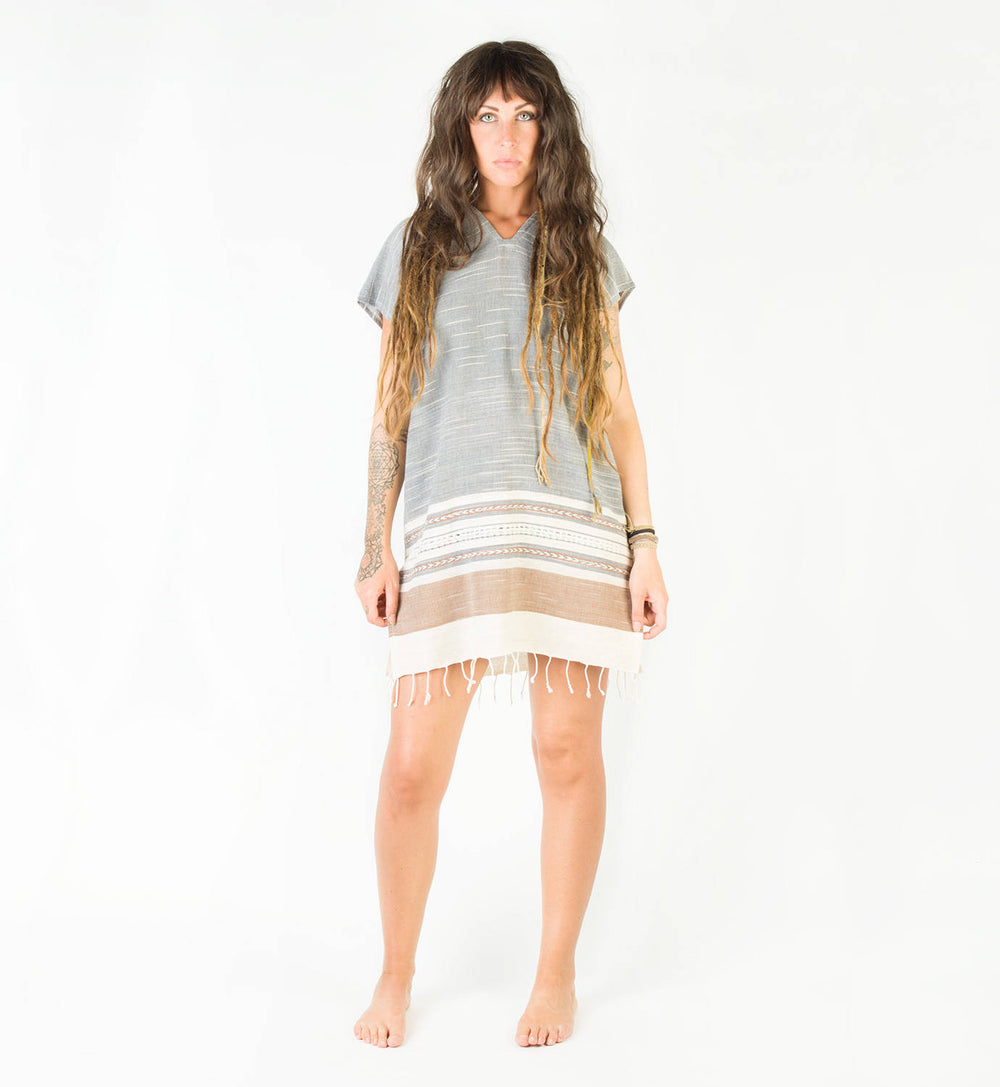 Womens Dress Handmade Hand Woven Grey Long Tunic Top Natural Dyed Cotton From Leaf and Bark Gypsy Desert Primitive Festival Bohemian AJJAYA