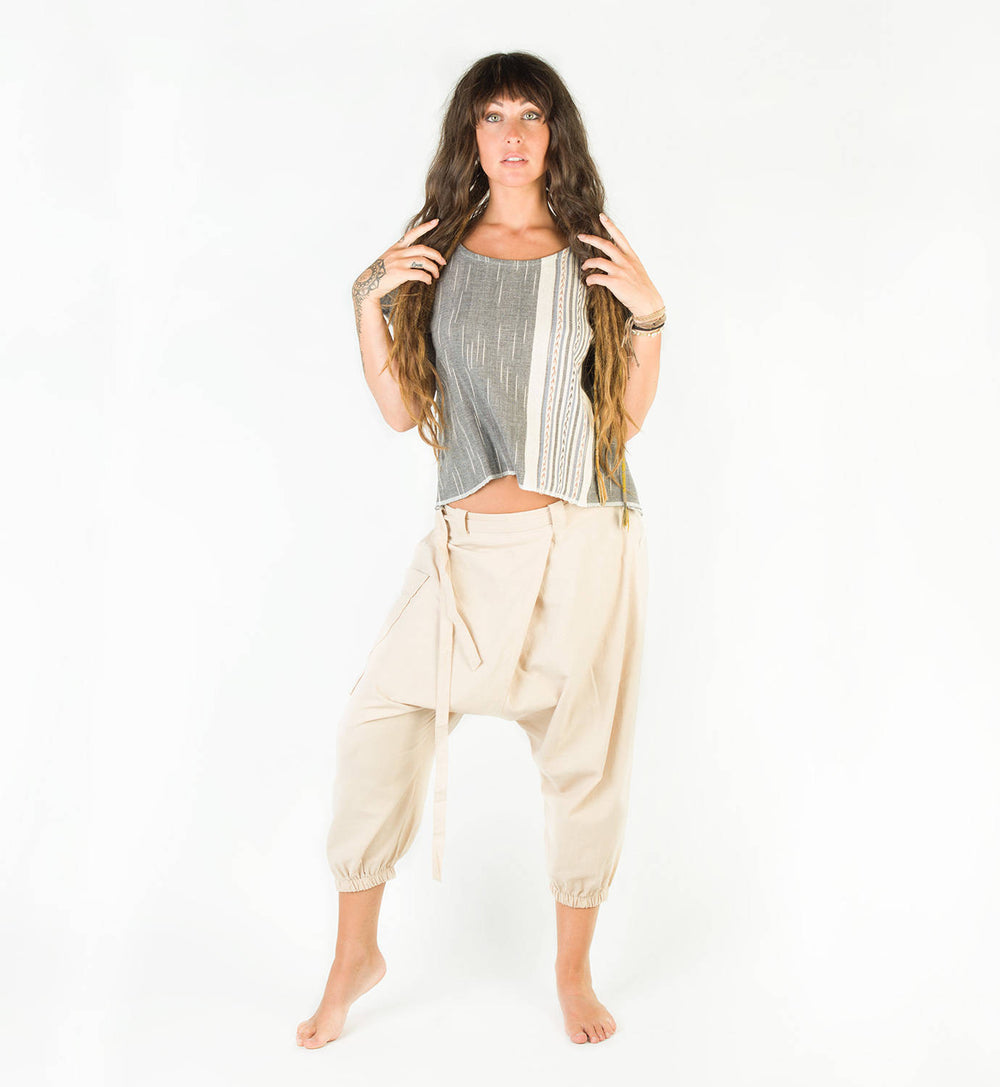 Hand Woven Handmade Grey Tank T Shirt Tunic Top Natural Dyed Cotton From Leaf and Bark Gypsy Desert Primitive Festival Boho AJJAYA Wild