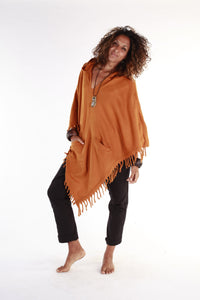 Womens Hooded Poncho Simply Curry Orange Cashmere Wool, Large Hood, Pockets, Hippie, Primitive, Gypsy, Boho, Hari Krishna AJJAYA