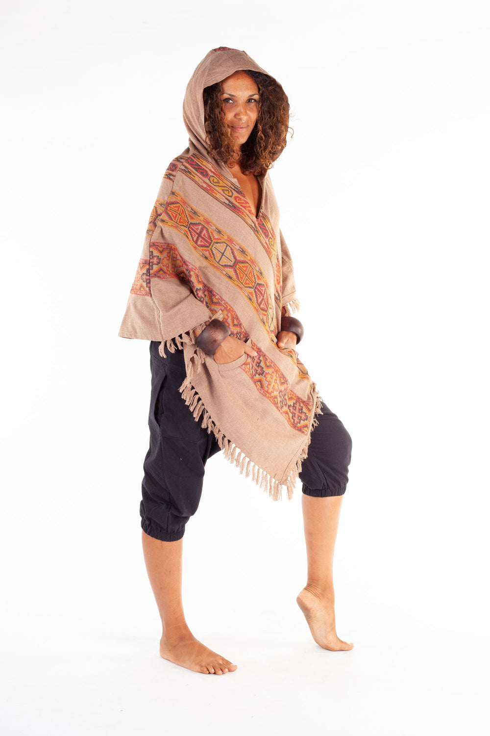 Womens Hooded Poncho Light Brown Cashmere Wool, with Tribal Embroidery, Large Hood, Two Pockets, Hippie, Primitive, Gypsy, Boho, AJJAYA