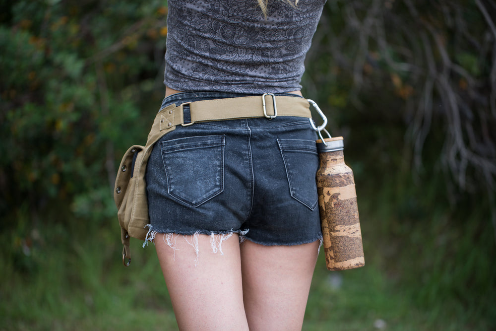 Pocket Belt Olive Kalahari Canvas Vegan Festival Doof Utility Functional, Phone Compartment, Gypsy Bag, Fanny Hip Pack Travel Pouch AJJAYA