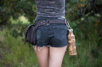 Kalahari Brown Canvas Vegan Festival Doof Utility Functional Pocket Belt, Phone Compartment, Gypsy Bag, Fanny Hip Pack Travel Pouch AJJAYA