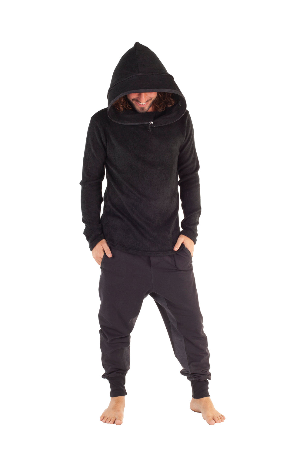 Kinao Hooded Shirt Expandable Large Hood Top, Black Hoodie Urban Street Festival Gothic Rave Alternative Primitive Long Sleeve AJJAYA