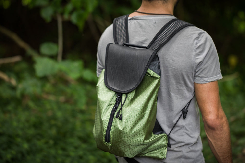 Green Recycled Inner Tube Tyre Hiking Bag Day Backpack Water Resistant Upcycled Easy Access Eco Environmentally Sustainable Friendly AJJAYA