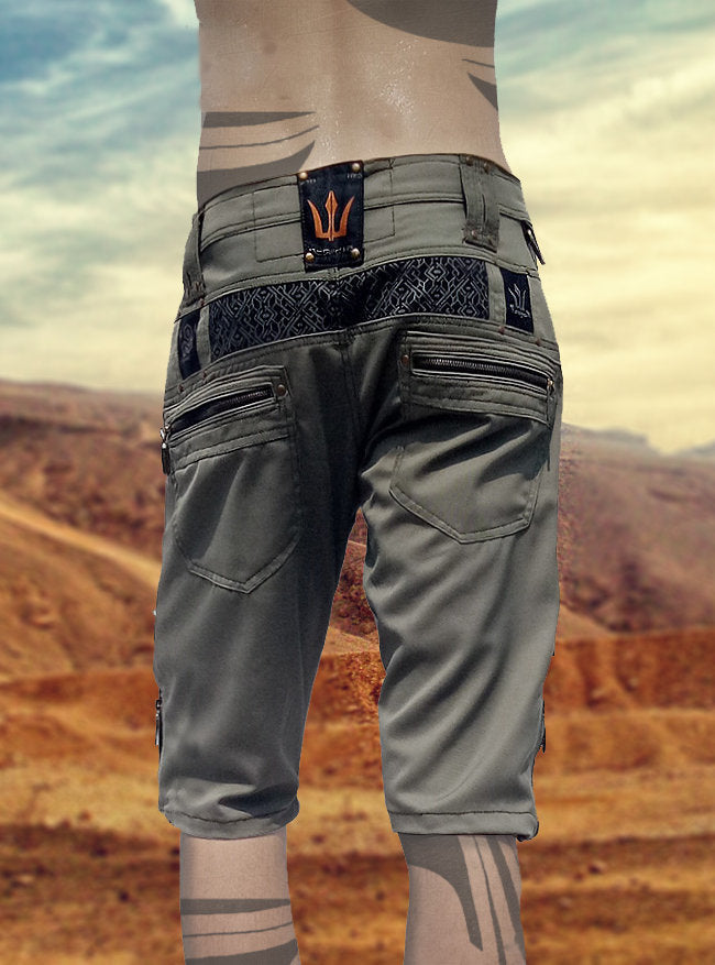 xPRO Green Cargo Mens Pants Shorts Knee High Tactical Functional Many Pockets Festival Tribal Gear Rave Comfortable Short Trousers AJJAYA