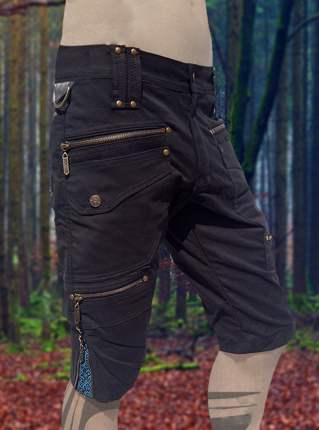 xPRO Black Cargo Mens Pants Shorts Knee Hight Tactical Functional Many Pockets Festival Tribal Gear Rave Comfortable Short Trousers AJJAYA