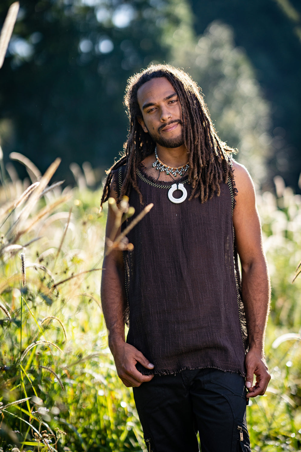 Mens Sleeveless Tank Top DHATU Cotton Shirt Slashed Open Sides Brown Semi See Through Breathable Tribal Gypsy Alternative Festival AJJAYA