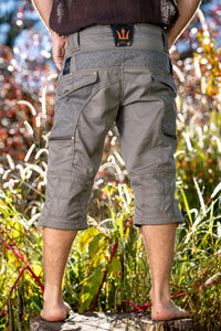 Mens Pants Galactic Janitor Green Cargo Shorts Knee High Tactical Functional Many Pockets Festival Tribal Gear Rave Goa Trousers AJJAYA