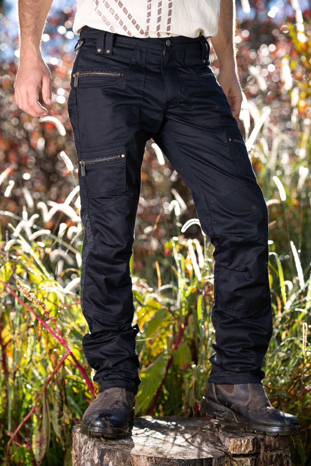 Osmosis Black Cargo Mens Pants Long Utility Tactical Functional Many Pockets Festival Tribal Gear Rave Comfortable Burning Trousers AJJAYA