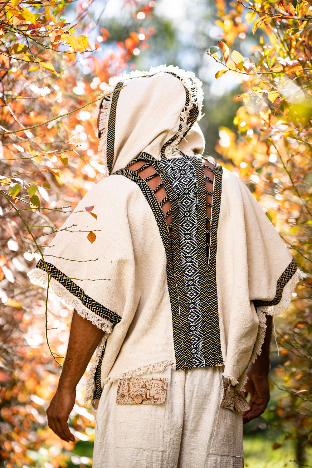 Mens Hooded Kimono Vest Beige Alchemist Wizard Sorcerer Tribal Ritual Ceremony Gypsy Festival Magic Magia Alchemy Primitive Rave Boho AJJAYA