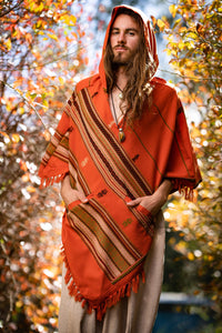 Mens Orange Hooded Cashmere Wool Poncho Hood Pockets Earthy Tribal Pattern Festival Gypsy AJJAYA Rave Winter Mexican Primitive Natural Boho