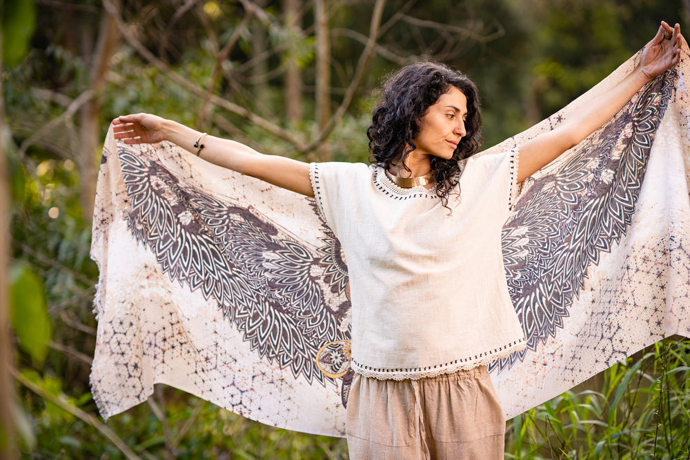 Wise Brown Owl Bird Wings Pashmina Sarong Scarf, Totem Festival Shawl Gypsy Bohemian Clothing Wearable Art Earthy Nature Feather Ajjaya Rave