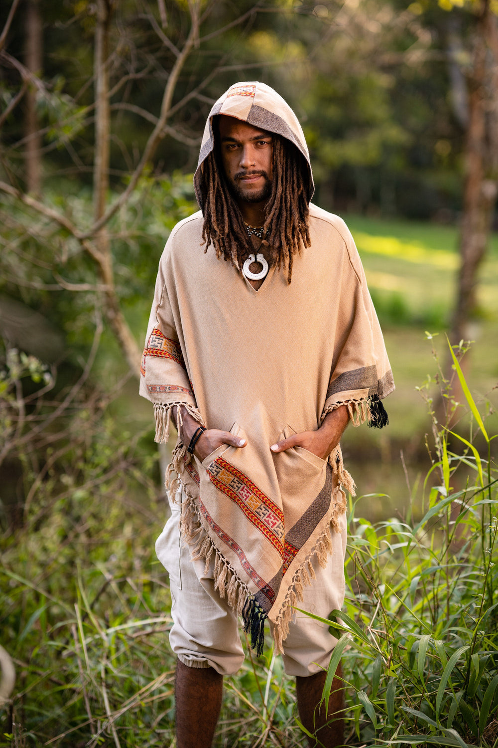 Mens Hooded Poncho Pockets Brown Cashmere Yak Wool, Earthy Tribal Pattern Festival Gypsy AJJAYA Boho Winter Warm Primitive Natural Hood